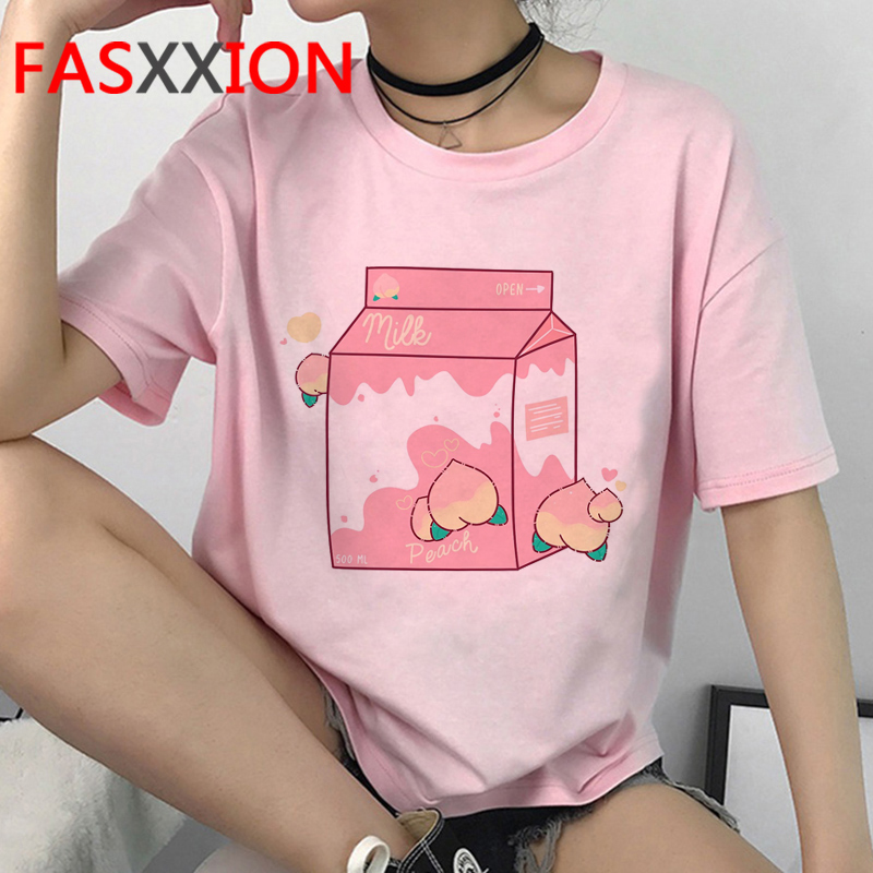Kawaii Peach Harajuku T-shirt Women Ullzang Peachy Small Fresh T Shirt Cute Cartoon 90s Tshirt Graphic Fashion Top Tees Female