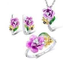 925 Серебряное женское эмалированное цветочное ожерелье с кулоном «пчела» кольца серьги комплект ювелирных изделий