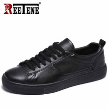 REETENE Leather Mens Sneakers Solid Lace Up Casual Male Shoes White Mens Shoes Black Shoes Soft Comfort Footwear Free Shipping