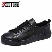 REETENE deri erkek spor ayakkabı düz rahat erkek ayakkabı beyaz erkek ayakkabıları siyah ayakkabı yumuşak konfor ayakkabı ücretsiz kargo