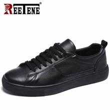 REETENE 가죽 남성 운동화 솔리드 캐주얼 남성 신발 화이트 남성 신발 블랙 신발 소프트 컴포트 신발 무료 배송