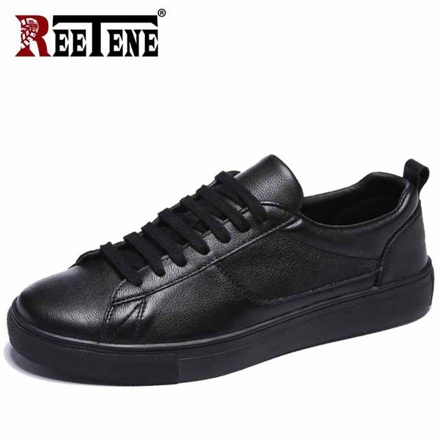 Мужские кожаные кроссовки REETENE, черные однотонные повседневные кроссовки на шнуровке, удобная мягкая обувь белого цвета, 2019