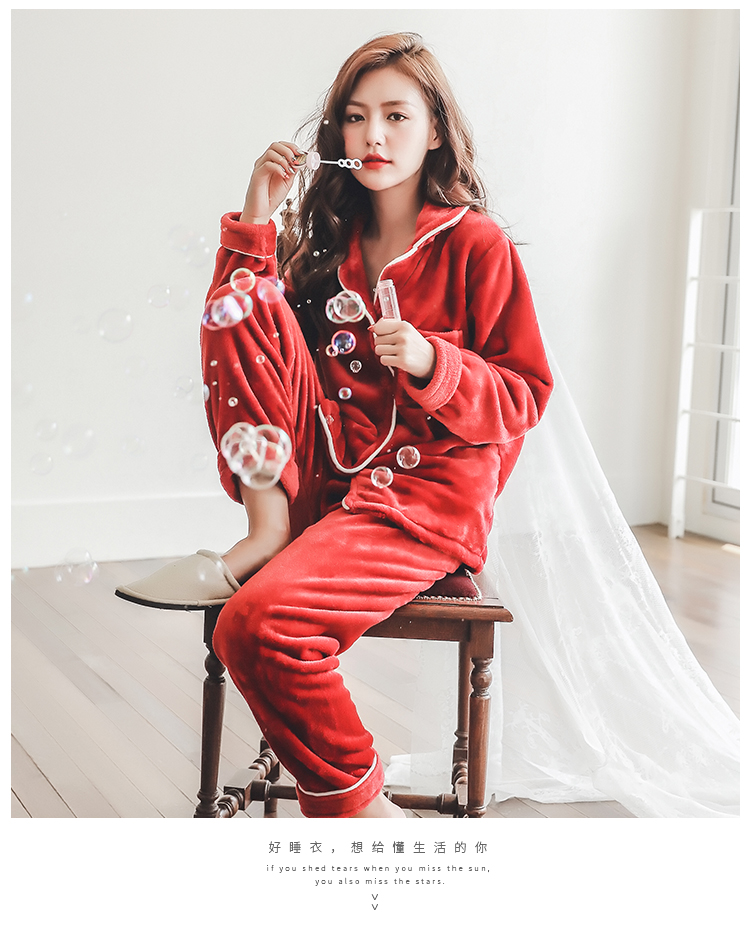 Plus Size 3XL 4XL 5XL Pyjamas women winter new Korean kawaii pink coral fleece warm pajama set thick flannel pijama home service 183