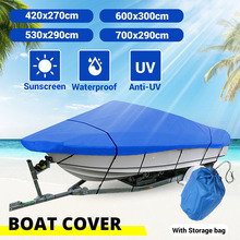 11 13ft 14 16ft 17 19ft 20 22ft Heavy Duty Blue Boat Cover Waterproof Anti UV 210D Marine Trailerable V Hull Protective Canvas