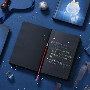 """Image 4 - """"Лунный свет"""" Жесткий Чехол черные бумаги записная книжка Журнал Дневник пустой блокнот канцелярские принадлежности подарок"""