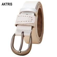 AKTRIS Womens All-match Fashion Retro Real Genuine Leather Belts Simple Buckle Metal Belt for Women Jeans 28mm FCO012