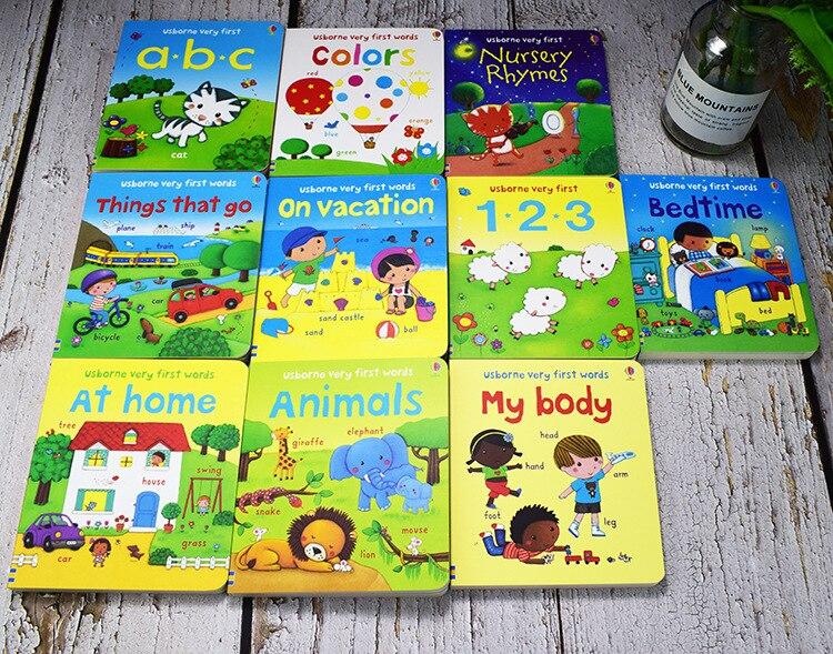 10 livres/ensemble USborne très premiers mots livre de bord jouets éducatifs pour enfants livres anglais pour enfants livres bébé anglais - 4