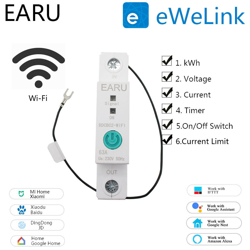 Switch-Relay Meter Timer Circuit-Breaker Rail-Wifi Smart Power-Consumption Din 1P