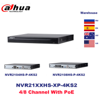 Dahua PoE NVR 4CH NVR2104HS P 4KS2 NVR2108HS 8P 4KS2 8CH 4K Network Video Recorder Support HDD POE For CCTV System Security Kit.