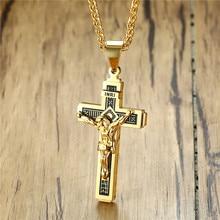 ZORCVENS INRI Cruz colgante collares para hombres Acero inoxidable Jesús oración hombre Collar cristiano accesorio de la suerte