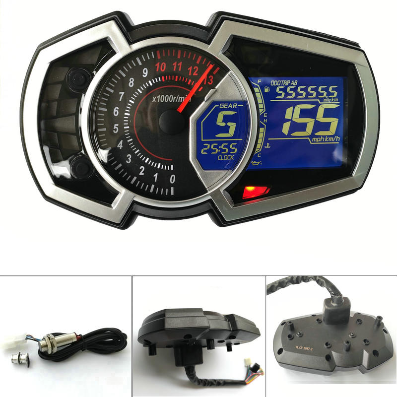 13000RPM DIY Universal 1,2,4 cylinder LCD Motorcycle Racing Street Bike Speedometer Odometer RPM Speed Fuel Gauge image