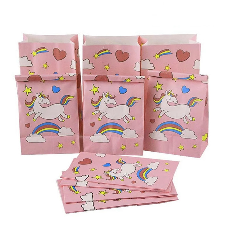 TOIDYS Unicorn Popcorn Box Children's Party Decoration Candy Box Wedding Supplies Paper Bag Birthday Gift Bag