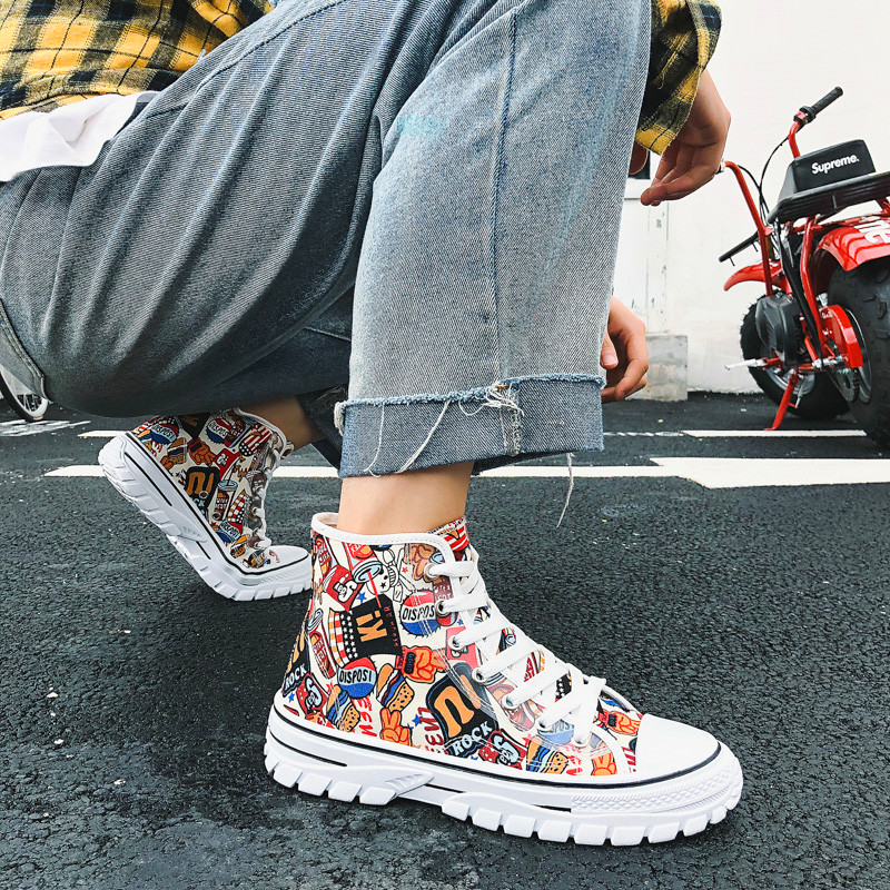 New Men's Casual Air Cushion Shoes Sports Shoes Breathable Lightweight Mesh Canvas Personality Printed Street Trendy Mens Shoes