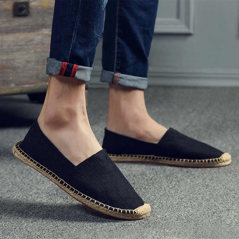 Mens SLIP บนรองเท้าผ้าใบรองเท้าผู้ชายผ้าลินิน Flats Loafers ชายรองเท้าลำลองรองเท้าผู้หญิงรองเท้าผ้าใบบุรุษรองเท้า Sapatillas Deportivas Para Hombre