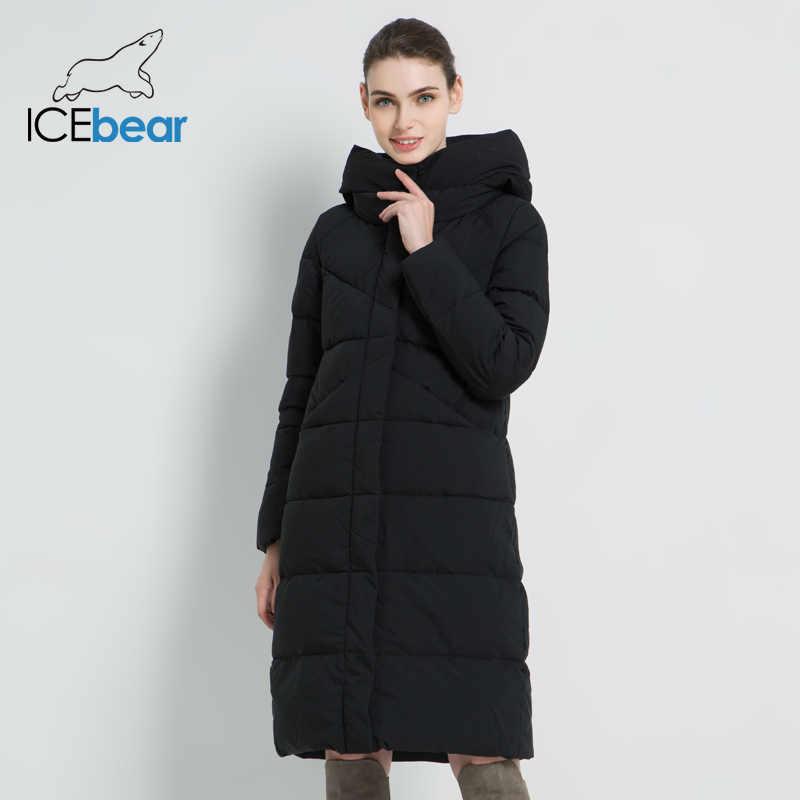 ICEbear 2019 Новая женская модная брендовая парка зимняя куртка простой дизайн с манжетами ветронепроницаемые теплые женские пальто высокого качества GWD18150