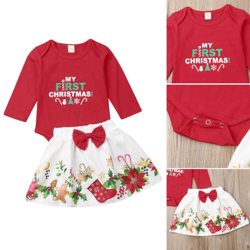 2019 Navidad bebé recién nacido mi primera carta de Navidad mono Bowknot estampado de Santa Claus falda ropa de manga larga Linda ropa 0-24M