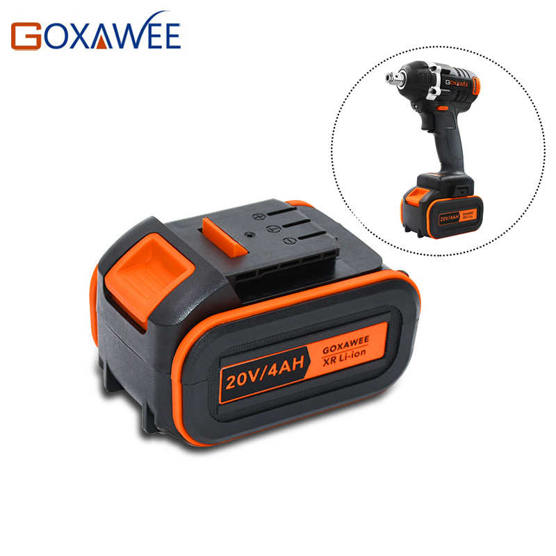 GOXAWEE Electric Wrench Battery 21V 4000mAh Fast Charging Li-ion Battery for 20V Cordless Wrench