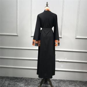 Image 3 - דובאי קפטן מוסלמית בגדים אסלאמיים העבאיה שמלת נשים שרוכים קפטן ארוך גלימת חיג אב שמלת גדול נדנדה גלימת קפטן קימונו Jubah