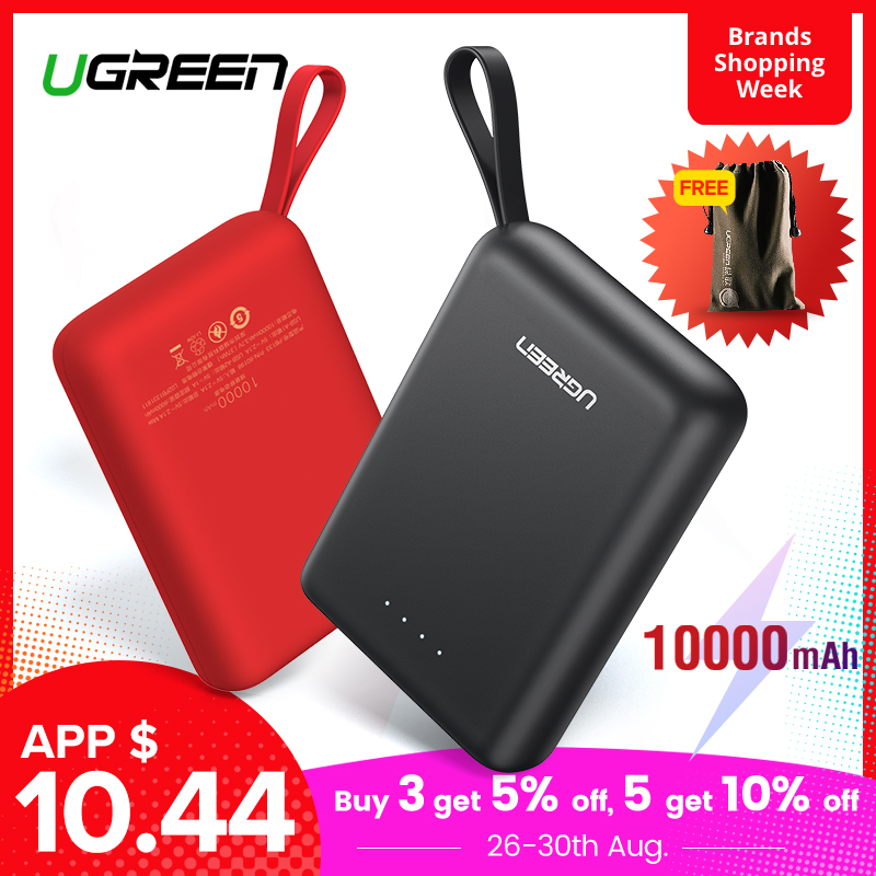 Ugreen Power Bank for Xiaomi Mini Pover Bank 10000mAh Portable External Phone Battery Charger for iPhone X Huawei P20 PoverBank
