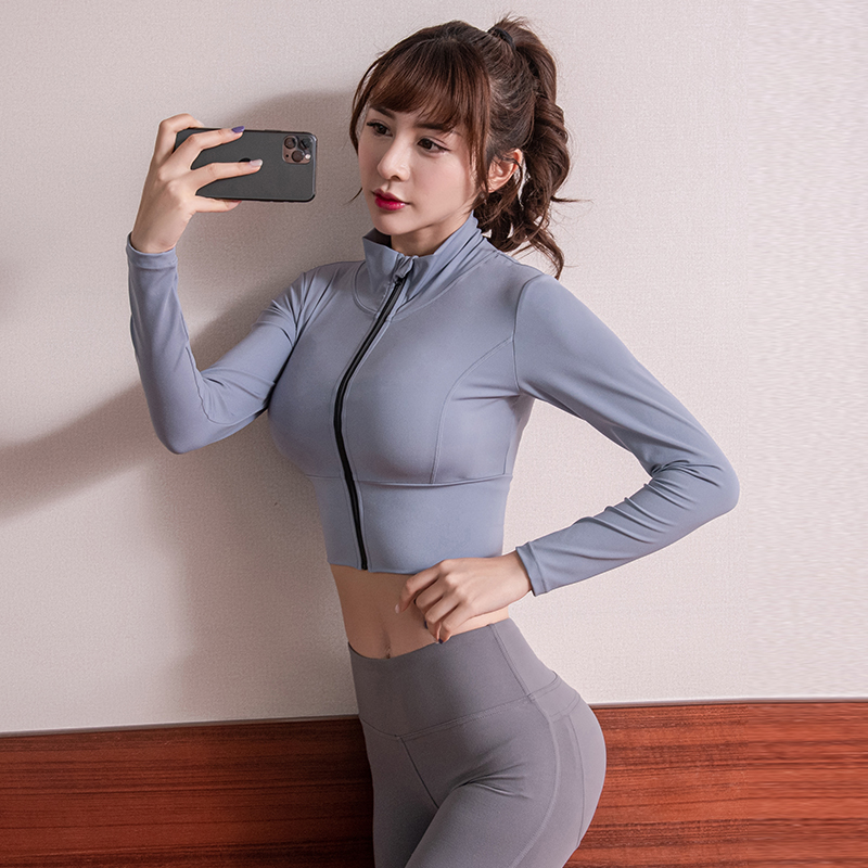 Gym Sports Jacket Women Stretch Tight Zipper Running Long Sleeve Fast-drying Gym Clothes