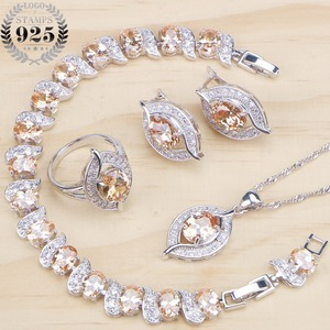 Image 1 - Bridal Silver 925 Jewelry Sets Cubic Zirconia Wedding Jewelry Rings Bracelet Necklace Earrings For Women Stone Set Gift Box