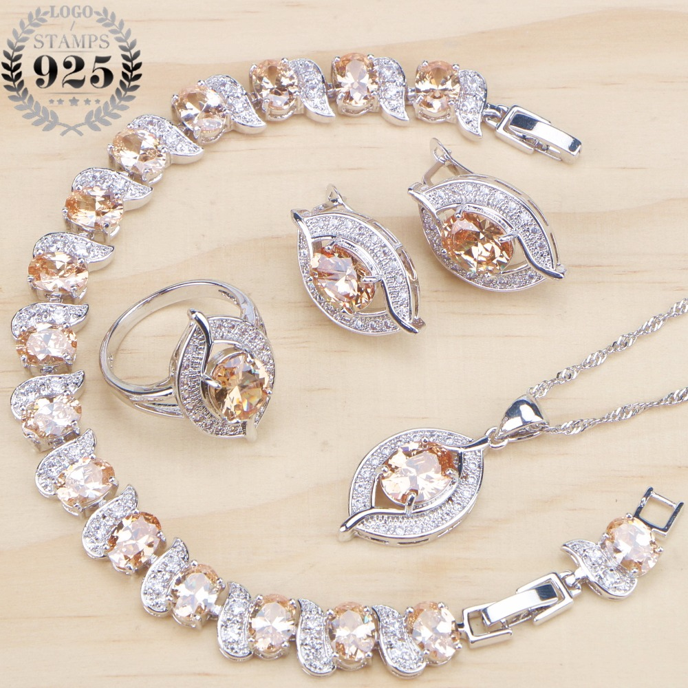 Bridal Silver 925 Jewelry Sets Cubic Zirconia Wedding Jewelry Rings Bracelet Necklace Earrings For Women Stone Set Gift Box