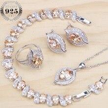 Nupcial prata 925 conjuntos de jóias zircônia cúbica anéis de jóias de casamento pulseira colar brincos para mulher conjunto de pedra caixa de presente