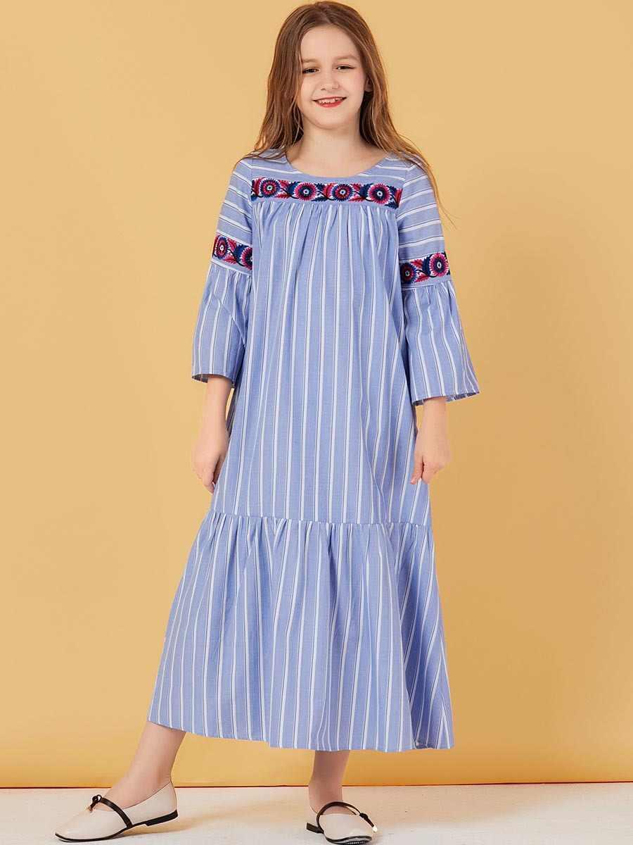 소녀 Abaya For Kids Hijab 이슬람 드레스 터키어 드레스 Abayas 어린이 이슬람 Kaftan 두바이 Caftan 카타르 라마단 이슬람 의류