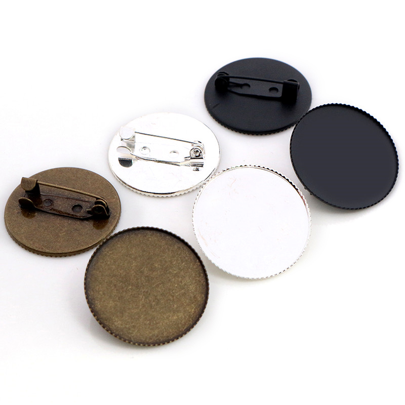 New Fashion 5pcs 25mm Inner Size 3 Colors Plated  Brass Material Brooch Simple Style Cabochon Cameo Base Setting