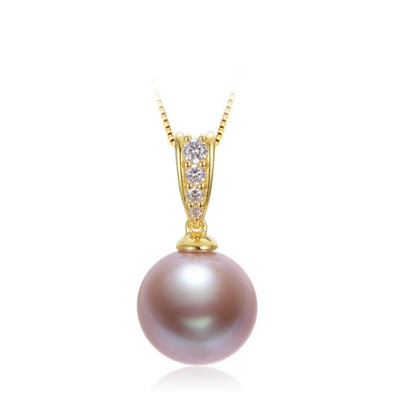 Perle d'eau douce pendentif argent Edison perle pendentif 13-14mm rond éblouissement unique violet perle pour petite amie cadeau bijoux