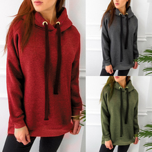 2019 Autumn Red Hoodie Sweatshirt and Winter Womens Solid Color Wild Casual Loose Long-sleeved