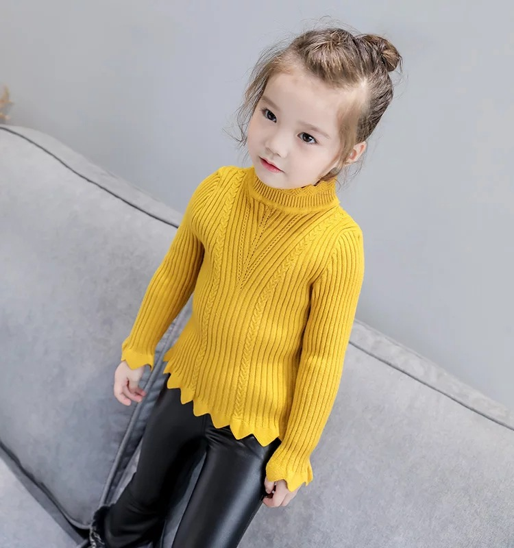 2019 Korean-style Autumn And Winter New Style Kids' Sweater Fashion GIRL'S Knitted Shirt Base Shirt CHILDREN'S Sweater