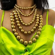 Lacteo Exaggerated Layered Golden Big Bead Clavicle Chain  Necklace Jewelry Women Men 2020 Cuba Punk Long Chain Charm Necklace