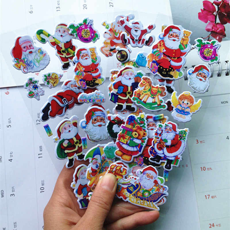 5Pcs/lot Happy New Year Christmas Gifts 3D Carton Merry Christmas Puffy Stickers Bubble Sticker Santa Claus Xmas Decor for Kids