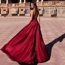 Smileven Strapless Wine Red Side Split Prom Dresses 2020 Sexy V Neck Evening Party Gowns Floor Length Women Dress