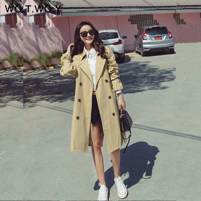 WOTWOY 2019 Autumn Fashion Casual Women's Coat Double Breasted Pocket Belt Outwear women   trench   coat Straight KneeLength   Trench