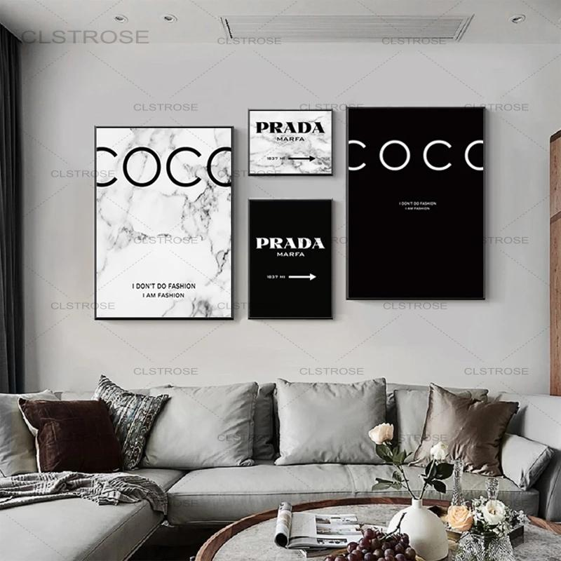 Modern Fashion Marble Coco Quotes Posters and Prints Black White Vogue Pictures