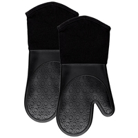 Silicone Oven Mitts With Quilted Cotton Lining - Professional Heat Resistant Potholder Kitchen Gloves - 1 Pair (Black)
