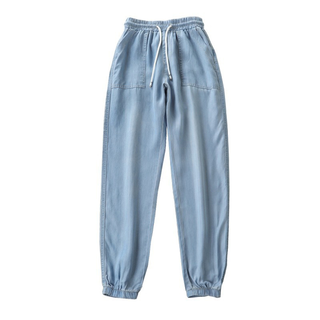 Women s Spring Long Harem Pants Casual Ankle Length High Waist Solid With Elastic Waist Plus Size Female Trousers Summer