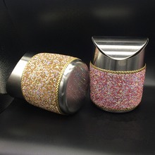 Car Stainless Steel Mini Car Waste Bins Bling Bling White Pink Crystal Home Office Storage Box Women Girls Ashtray Great Gift