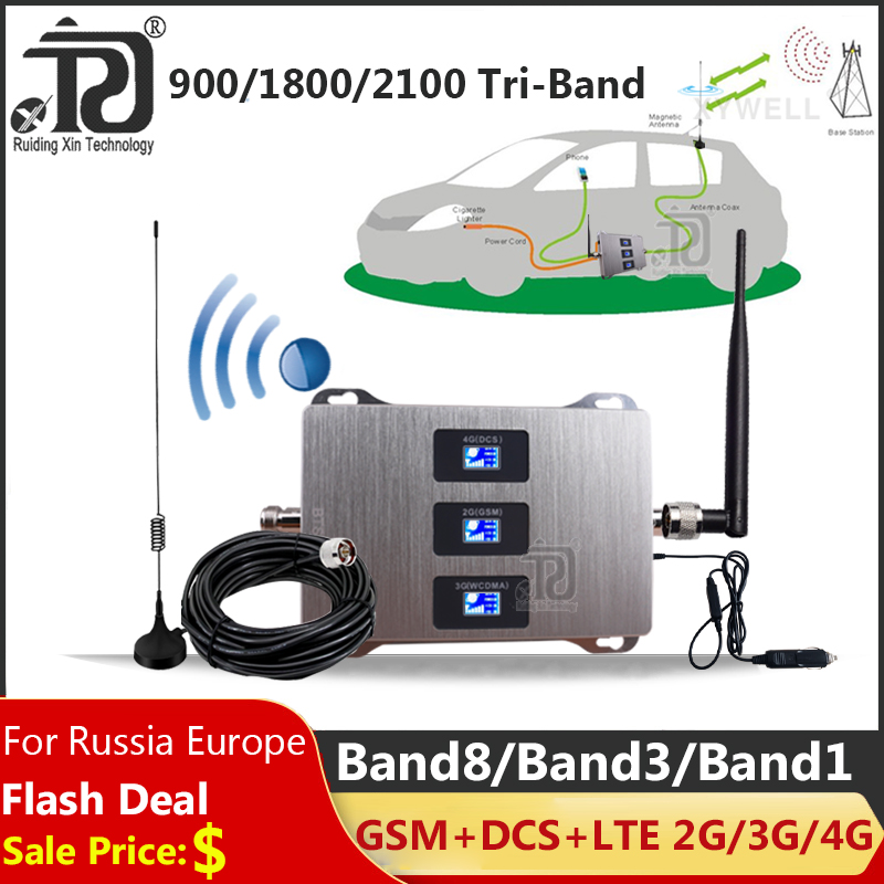 Car Use Tri-Band Cellular Amplifier 900/1800/2100mhz 2G 3G 4G Mobile Signal Booster DCS GSM WCDMA GSM Repeater 2G 3G 4G