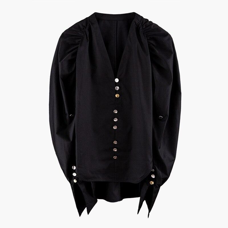 TVVOVVIN noir Blouse irrégulière femmes corée mode élégant Patchwork 2019 automne col en V petit frais unique poitrine chemise F737
