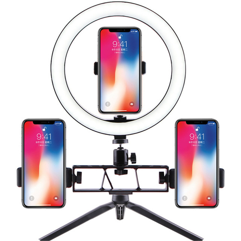 Desktop USB Selfie Ring Light with Tripod Stand And 3 Phone Holder 3 Light Modes