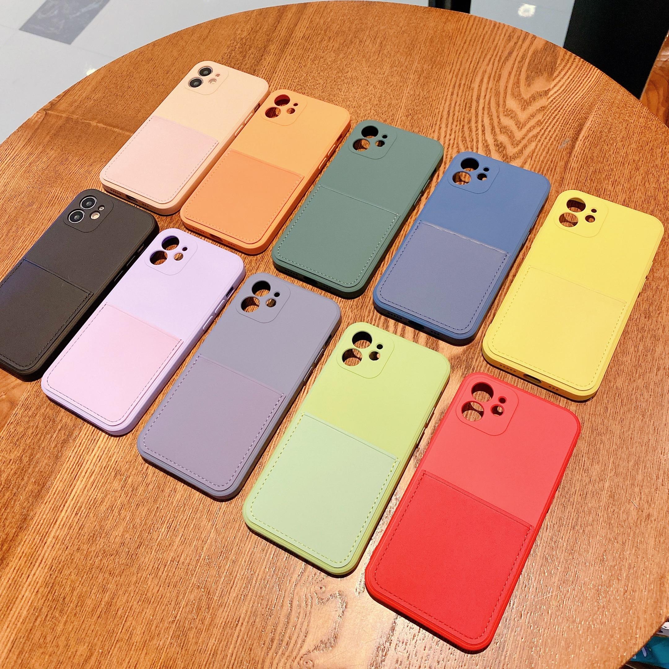 Silicone líquido caso de luxo para apple iphone 11 12 pro max mini se 2020 x xr xs max 7 8 plus cartão cinta titular capa caso escudo