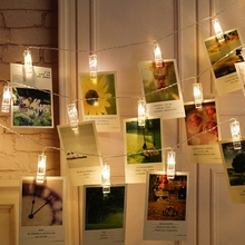 Светодиодная лампа с зажимом 30 20 10 светодиодный s фото карта гирлянда Сказочный светодиодный гирлянда AA батарея вечерние свадебные украшения дома лампа