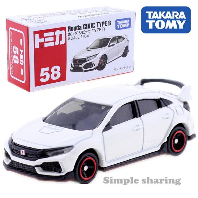 Takara Tomy Tomica n ° 58 Honda Civic Type R modèle Kit 1/64 moule de voiture moulé sous pression Pop Miniature bébé jouets à collectionner