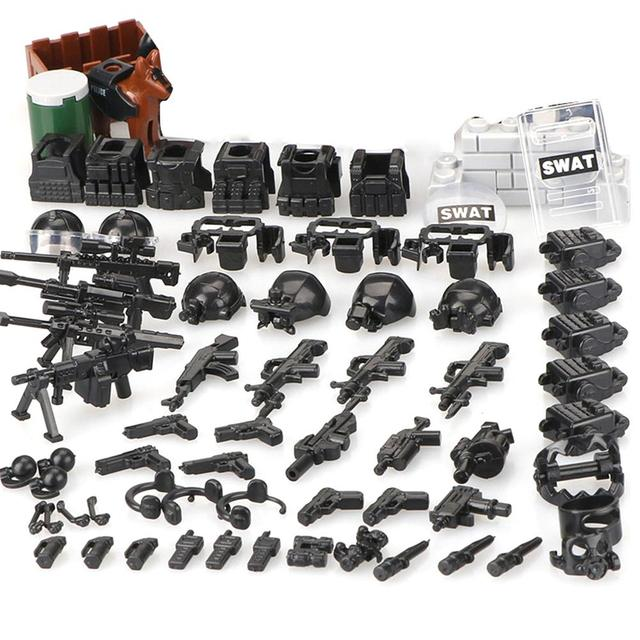DIY SWAT Team Action Figures Military Soldier Mini Dolls Accessory Toys City Building Blocks Part Toys Compatible With For Lego