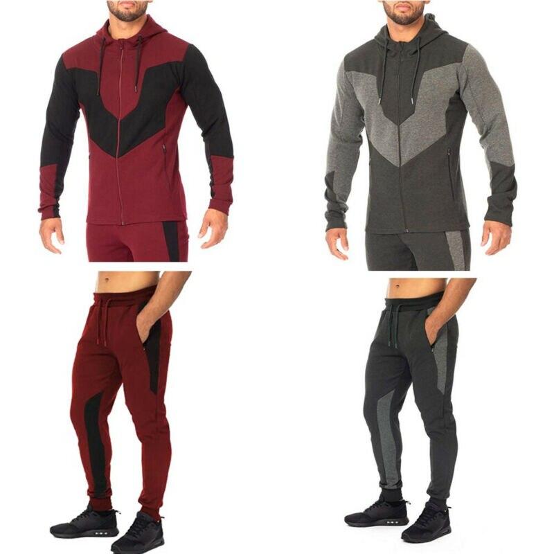 Autumn Winter Men's Jogging Hoodie Slim Coat Jacket Trousers Pants Sports Gym Slim Casual Tracksuit