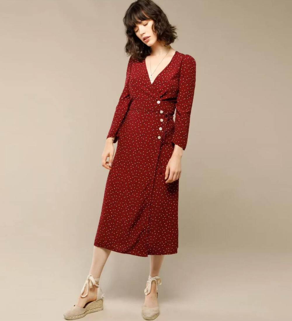 Women Dress French Wrap Polka Printing Deep V Neck Long Sleeve Dress with Side Dot Double