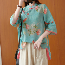 2021 Cotton and linen Tang suit women's autumn new Chinese style print loose three-quarter sleeve tea service T-shirt